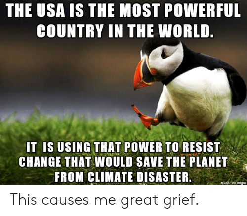 Grief: THE USA IS THE MOST POWERFUL  COUNTRY IN THE WORLD.  IT IS USING THAT POWER TO RESIST  CHANGE THAT WOULD SAVE THE PLANET  FROM CLIMATE DISASTER.  made on imgur This causes me great grief.