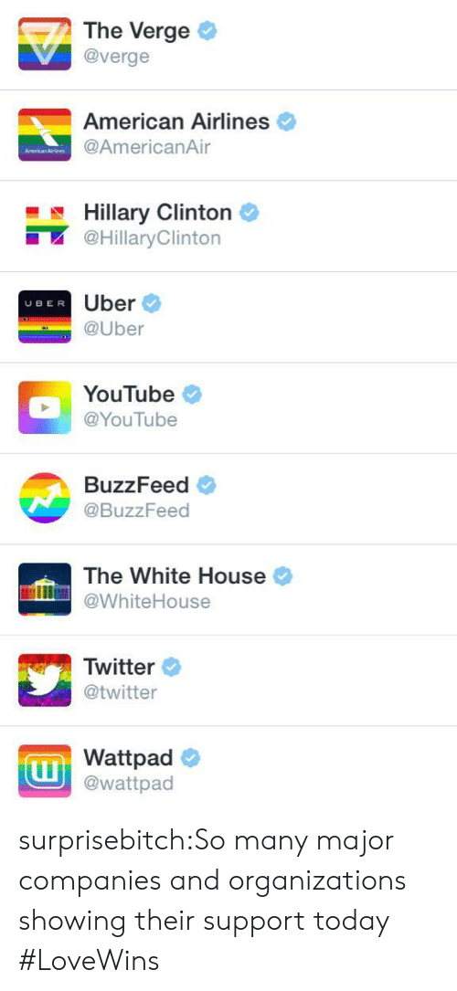 Target, Tumblr, and Twitter: The Verge  @verge  American Airlines  @AmericanAir  Hillary Clintorn  @HillaryClinton  Uber  @Uber  UBER  YouTube  @YouTube  BuzzFeed  @BuzzFeed  The White House  WhiteHouse  Twitter  @twitter  Wattpad  @wattpad surprisebitch:So many major companies and organizations showing their support today #LoveWins