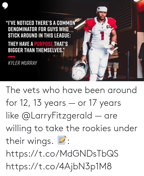 17 years: The vets who have been around for 12, 13 years — or 17 years like @LarryFitzgerald — are willing to take the rookies under their wings.  📝: https://t.co/MdGNDsTbQS https://t.co/4AjbN3p1M8