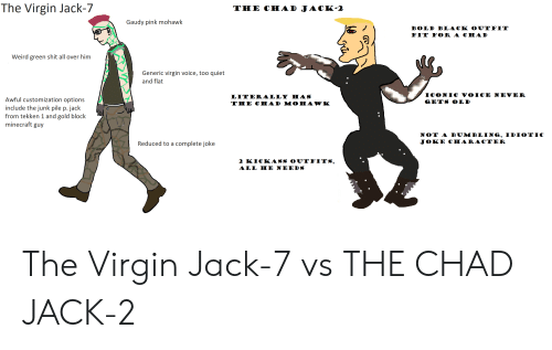 Minecraft, Shit, and Virgin: The Virgin Jack-7  THE CHAD JACK-2  Gaudy pink mohawk  BOLD BLACK OUTFIT  FIT FOR A CHAD  Weird green shit all over him  Generic virgin voice, too quiet  and flat  ICONIC voicE NEVER  LITER ALLY HAS  THE CHAD M OHAWK  Awful customization options  include the junk pile p. jack  from tekken 1 and gold block  minecraft guy  GETS OLD  NOT A BUMBLING, IDIOTIC  JOKE CHARACTER  Reduced to a complete joke  2 KICKASS OUTFITS,  ALL HE NEEDS The Virgin Jack-7 vs THE CHAD JACK-2