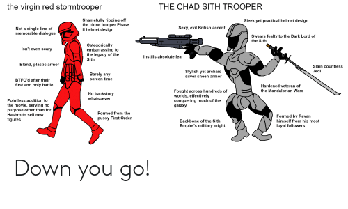 sleek: the virgin red stormtrooper  THE CHAD SITH TROOPER  Shamefully ripping off  the clone trooper Phase  Il helmet design  Sleek yet practical helmet design  Sexy, evil British accent  Not a single line of  memorable dialogue  Swears fealty to the Dark Lord of  the Sith  Categorically  embarrassing to  the legacy of the  Sith  Isn't even scary  Instills absolute fear  Bland, plastic armor  Slain countless  Stylish yet archaic  silver sheen armor  Jedi  Barely any  screen time  BTFO'd after their  first and only battle  Hardened veteran of  Fought across hundreds of  worlds, effectively  conquering much of the  galaxy  the Mandalorian Wars  No backstory  whatsoever  Pointless addition to  the movie, serving no  purpose other than for  Hasbro to sell new  Formed from the  Formed by Revan  himself from his most  loyal followers  pussy First Order  figures  Backbone of the Sith  Empire's military might Down you go!