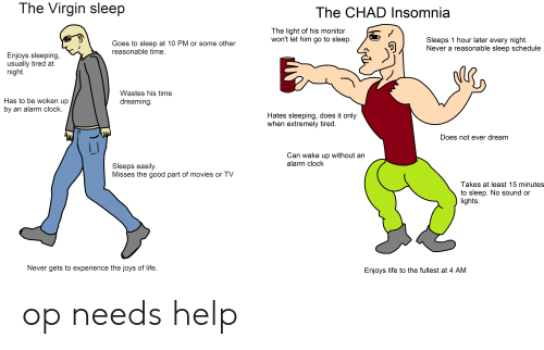 Ever Dream: The Virgin sleep  The CHAD Insomnia  The light of his monitor  won't let him go to sleep.  Sleeps 1 hour later every night  Never a reasonable sleep schedule  Goes to sleep at 10 PM or some other  reasonable time.  Enjoys sleeping,  usually tired at  night.  chad  chips  Wastes his time  Has to be woken up  by an alarm clock.  dreaming.  Hates sleeping, does it only  when extremely tired.  Does not ever dream  Can wake up without an  alarm clock  Sleeps easily  Misses the good part of movies or TV  Takes at least 15 minutes  to sleep. No sound or  lights  Never gets to experience the joys of life.  Enjoys life to the fullest at 4 AM op needs help