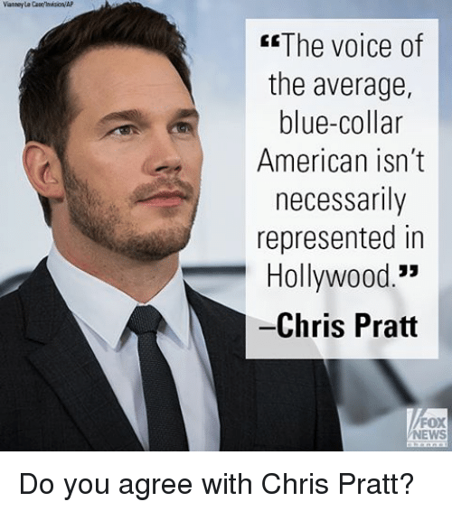 Chris Pratt, Memes, and News: The voice of  the average,  blue-collar  American isn't  necessarily  represented in  Hollywood  Chris Pratt  FOX  NEWS Do you agree with Chris Pratt?