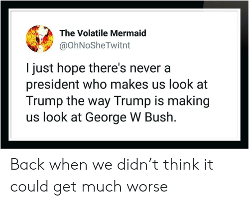 George W. Bush: The Volatile Mermaid  @OhNoSheTwitnt  I just hope there's never a  president who makes us look at  Trump the way Trump is making  us look at George W Bush. Back when we didn't think it could get much worse