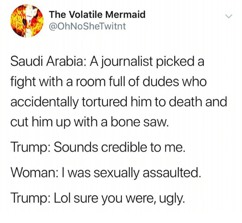 Lol, Memes, and Saw: The Volatile Mermaid  @OhNoSheTwitnt  Saudi Arabia: A journalist picked a  fight with a room full of dudes who  accidentally tortured him to death and  cut him up with a bone saw  Trump: Sounds credible to me.  Woman: I was sexually assaulted.  Trump: Lol sure you were, ugly