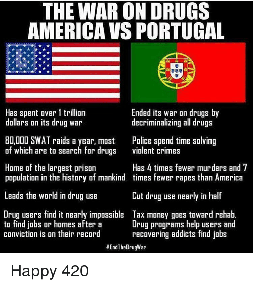 Memes, 🤖, and Raid: THE WAR ON DRUGS  AMERICA VS PORTUGAL  Has spent over 1 trillion  Ended its war on drugs by  dollars on its drug war  decriminalizing all drugs  80,000 SWAT raids a year, most Police spend time solving  of which are to search for drugs  violent crimes  Home of the largest prison  Has 4 times fewer murders and 7  population in the history of mankind times fewer rapes than America  Leads the world in drug use  Cut drug use nearly in half  Drug users find it nearly impossible Tax money goes toward rehab.  to find jobs or homes after a  Drug programs help users and  conviction is on their record  recovering addicts find jobs  #End TheOrugWar Happy 420
