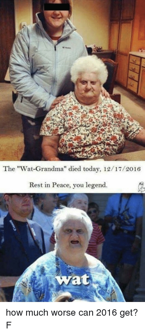 "Wat Grandma: The ""Wat Grandma"" died today, 12/17/2016  Rest in Peace, you legend.  wat how much worse can 2016 get? F"