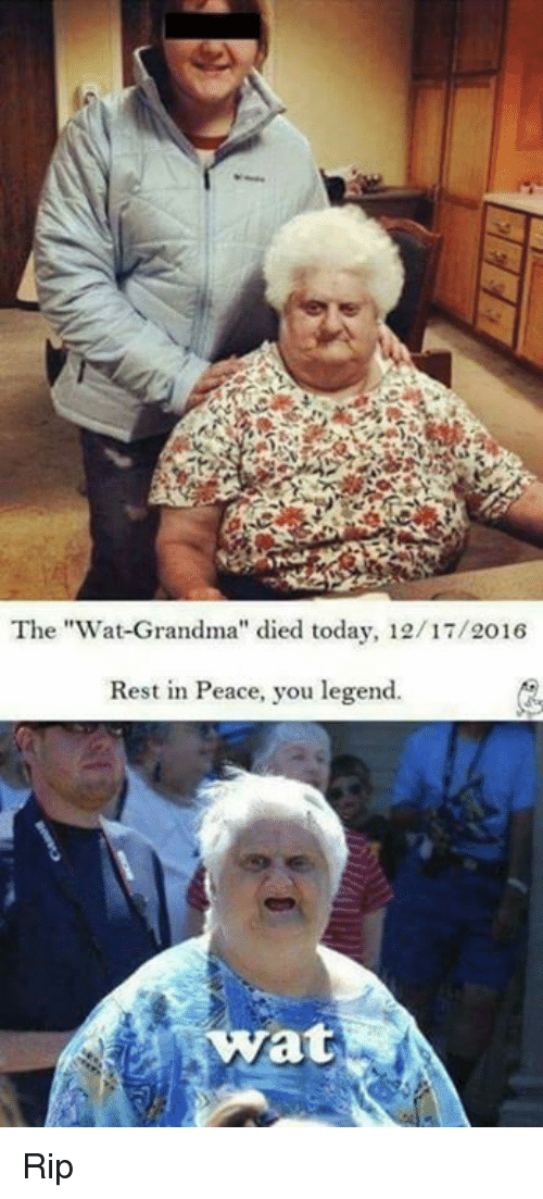 "Wat Grandma: The ""Wat-Grandma"" died today, 12/17/2016  Rest in Peace, you legend.  at Rip"