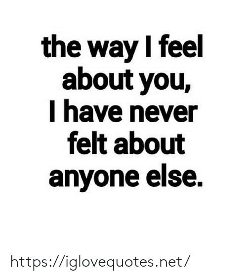 else: the way I feel  about you,  I have never  felt about  anyone else. https://iglovequotes.net/