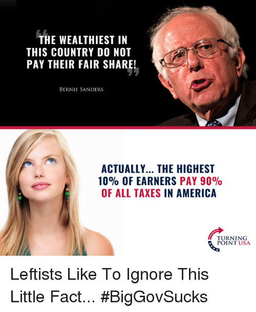 Bernie Sanders: THE WEALTHIEST IN  THIS COUNTRY D0 NOT  PAY THEIR FAIR SHARE!  BERNIE SANDERS  ACTUALLY... THE HIGHEST  10% OF EARNERS PAY 90%  OF ALL TAXES IN AMERICA  TURNING  POINT USA Leftists Like To Ignore This Little Fact... #BigGovSucks