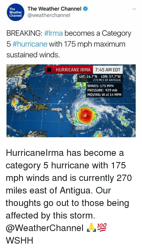 Memes, Mlb, and Pressure: The  Weather  Channel  The Weather Channel  @weatherchannel  BREAKING: #Irma becomes a Category  5 #hurricane with 175 mph maximum  sustained winds.  HURRICANE IRMA  7:45 AM EDT  LAT: 16.7°N LON: 57.7°W  270 MI E OF ANTIGUA  WINDS: 175 MPH  PRESSURE: 929 mlb  MOVING: W at 14MPH  Miami  O Ri  arbado  98 HurricaneIrma has become a category 5 hurricane with 175 mph winds and is currently 270 miles east of Antigua. Our thoughts go out to those being affected by this storm. @WeatherChannel 🙏💯 WSHH