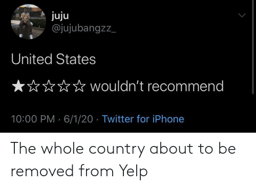 Removed: The whole country about to be removed from Yelp