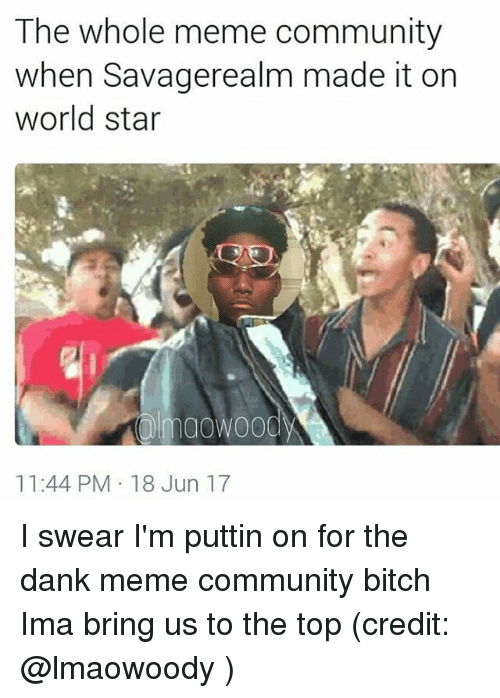 Dank Memees: The whole meme community  when Savagerealm made it on  world star  maowoody  11:44 PM 18 Jun 17 I swear I'm puttin on for the dank meme community bitch Ima bring us to the top (credit: @lmaowoody )