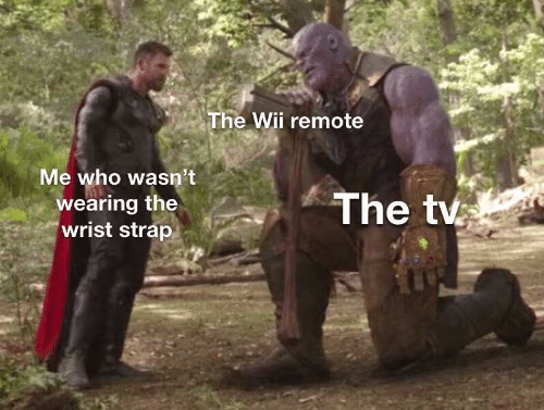 Wii, Who, and Remote: The Wii remote  Me who wasn't  The tv  wearing the  wrist strap