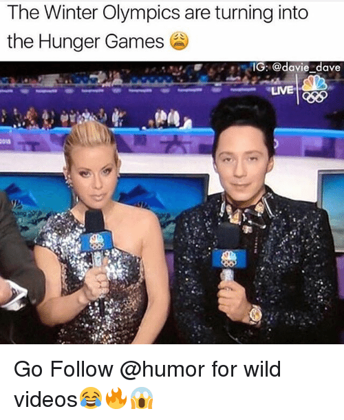 Funny, The Hunger Games, and Videos: The Winter Olympics are turning into  the Hunger Games  IG: @davie dave  LIVE  Cd Go Follow @humor for wild videos😂🔥😱