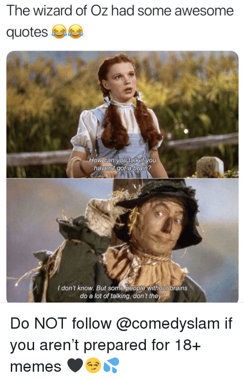 Brains, Memes, and Quotes: The wizard of Oz had some awesome  quotes  haven't got a braiA?  I don't know. But some people without brains  do a lot of talking, don't they? Do NOT follow @comedyslam if you aren't prepared for 18+ memes 🖤😏💦