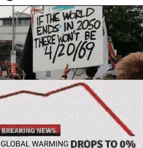 Dank, Global Warming, and News: THE WORLD  ENDS IN 2050  THERE WONT BE  BREAKING NEWS  GLOBAL WARMING DROPS TO 0%