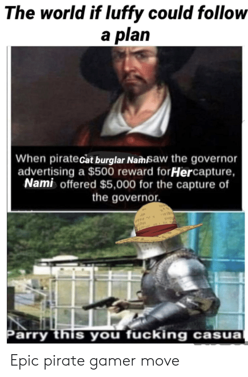 Fucking, World, and Pirate: The world if luffy could follow  a plan  When piratecat burglar Namsaw the governor  advertising a $500 reward forHercapture,  Nami offered $5,000 for the capture of  the governor.  AWD  Parry this you fucking casua Epic pirate gamer move