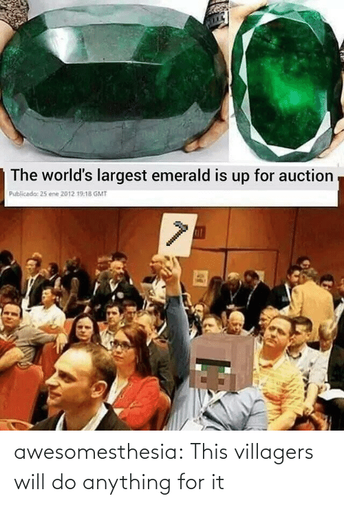 Largest: The world's largest emerald is up for auction  Publicada: 25 ene 2012 19:18 GMT awesomesthesia:  This villagers will do anything for it