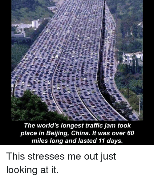 Beijing, Memes, and Traffic: The world's longest traffic jam took  place in Beijing, China. It was over 60  miles long and lasted 11 days This stresses me out just looking at it.