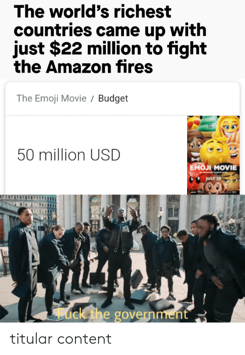 Countries: The world's richest  countries came up with  just $22 million to fight  the Amazon fires  The Emoji Movie  Budget  50 million USD  Емол MOVIE  JULY 26  ack the government titular content