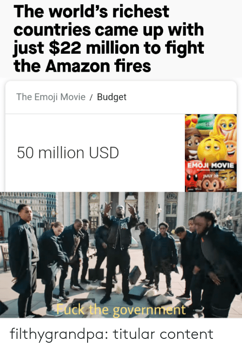 Countries: The world's richest  countries came up with  just $22 million to fight  the Amazon fires  The Emoji Movie  Budget  50 million USD  Емол MOVIE  JULY 26  ack the government filthygrandpa:  titular content