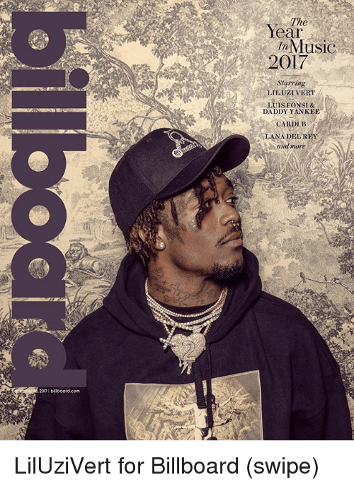 Billboard, Memes, and Cardi B: The  Year  InMusiC  2017  Starring  LIL UZI VERT  LUIS FONSI &  DADDY YANKEE  CARDI B  LANA DELREY  and more  20口1 billboard.com LilUziVert for Billboard (swipe)