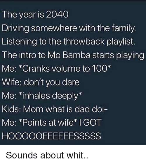 Anaconda, Dad, and Driving: The year is 2040  Driving somewhere with the family.  Listening to the throwback playlist.  The intro to Mo Bamba starts playing  Me: *Cranks volume to 100  Wife: don't you dare  Me: *inhales deeply*  Kids: Mom what is dad doi-  Me: *Points at wife* I GOT Sounds about whit..