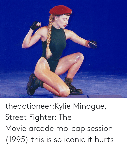 Iconic: theactioneer:Kylie Minogue, Street Fighter: The Movie arcade mo-cap session (1995) this is so iconic it hurts