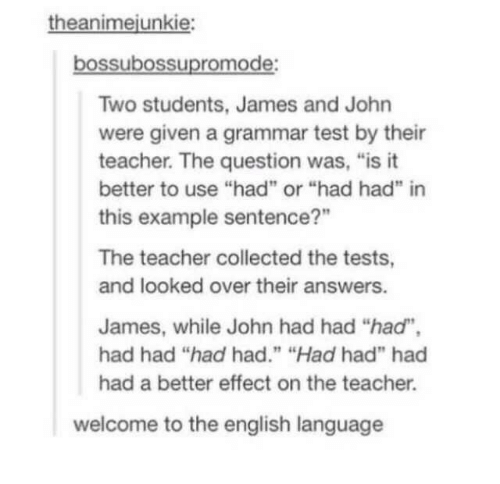 "example: theanimejunkie:  bossubossupromode:  Two students, James and John  were given a grammar test by their  teacher. The question was, ""is it  better to use ""had"" or ""had had"" in  this example sentence?""  The teacher collected the tests,  and looked over their answers.  James, while John had had ""had"",  had had ""had had."" ""Had had"" had  had a better effect on the teacher.  welcome to the english language"