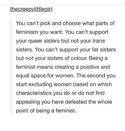 Feminism, Memes, and Space: thecreepylittlegirl:  You can't pick and choose what parts of  feminism you want. You can't support  your queer sisters but not your trans  sisters. You can't support your fat sisters  but not your sisters of colour. Being a  feminist means creating a positive and  equal space for women. The second you  start excluding women based on which  characteristics you do or do not find  appealing you have defeated the whole  point of being a feminist.