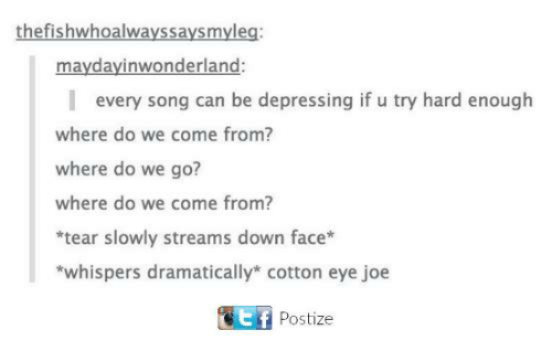 Funny, Tumblr, and Eye: thefishwhoalwayssaysmyleg:  maydayinwonderland:  every song can be depressing if u try hard enough  where do we come from?  where do we go?  where do we come from?  *tear slowly streams down face  *whispers dramatically cotton eye joe  Ef Postize