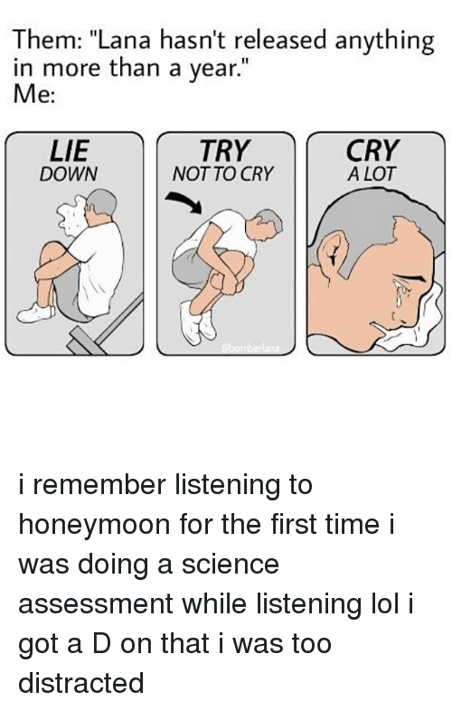 """Honeymoon, Memes, and 🤖: Them: """"Lana hasn't released anything  in more than a year.""""  Me:  LIE  TRY  CRY  A LOT  DOWN  NOT TO CRY i remember listening to honeymoon for the first time i was doing a science assessment while listening lol i got a D on that i was too distracted"""