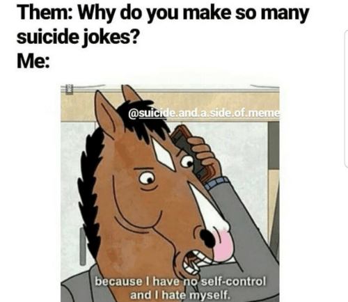 Meme, Control, and Jokes: Them: Why do you make so many  suicide jokes?  Me:  @suicide.and a.side.of.meme  because I haveno self-control  and I hate myself.