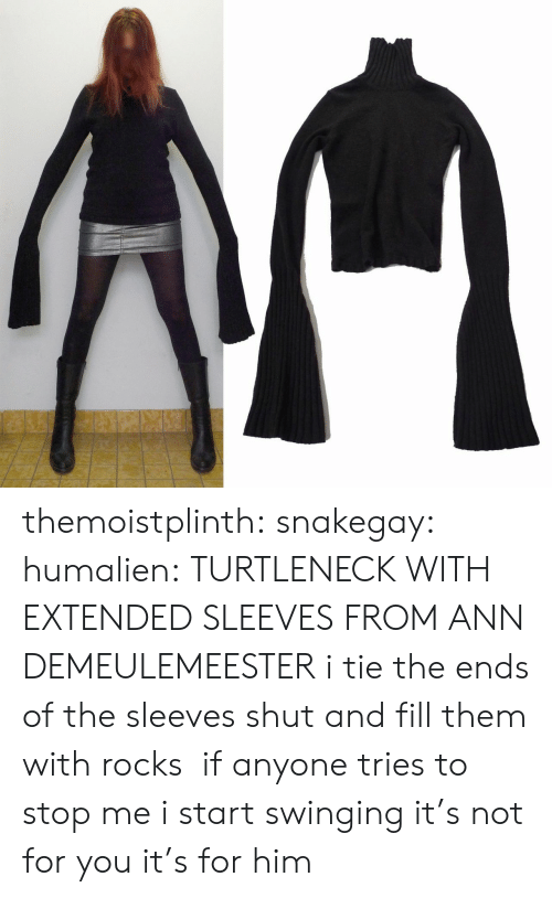 Target, Tumblr, and Blog: themoistplinth: snakegay:  humalien:  TURTLENECK WITH EXTENDED SLEEVES FROM ANN DEMEULEMEESTER  i tie the ends of the sleeves shut and fill them with rocks if anyone tries to stop me i start swinging  it's not for you it's for him
