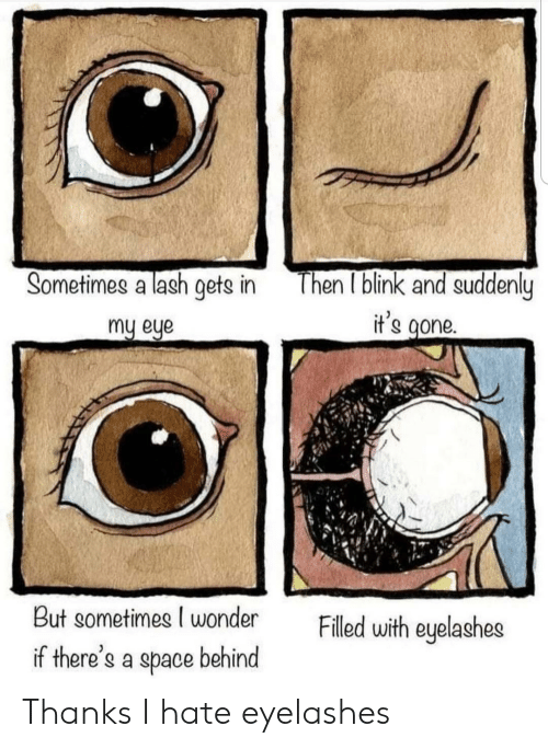 Space, Wonder, and Eye: Then I blink and suddenly  it's gone.  Sometimes a lash gets in  my eye  But sometimes I wonder  Filled with eyelashes  if there's a space behind Thanks I hate eyelashes