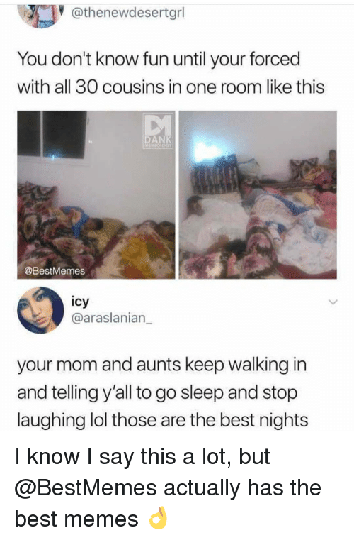 Dank, Lol, and Memes: @thenewdesertgrl  You don't know fun until your forced  with all 30 cousins in one room like this  DANK  @BestMemes  icy  @araslanian_  your mom and aunts keep walking in  and telling y'all to go sleep and stop  laughing lol those are the best nights I know I say this a lot, but @BestMemes actually has the best memes 👌