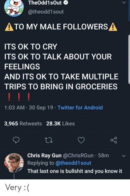 Android, Twitter, and Bullshit: TheOdd1sOut  @theodd1sout  ATO MY MALE FOLLOWERS A  ITS OK TO CRY  ITS OK TO TALK ABOUT YOUR  FEELINGS  AND ITS OK TO TAKE MULTIPLE  TRIPS TO BRING IN GROCERIES  !!!  1:03 AM 30 Sep 19 Twitter for Android  3,965 Retweets 28.3K Likes  Chris Ray Gun @ChrisRGun 58m  Replying to @theodd1 sout  That last one is bullshit and you know it Very :(