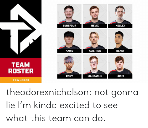 gonna: theodorexnicholson:  not gonna lie I'm kinda excited to see what this team can do.