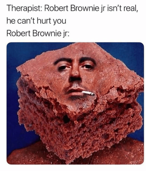Memes, 🤖, and You: Therapist: Robert Brownie jr isn't real,  he can't hurt you  Robert Brownie jr: