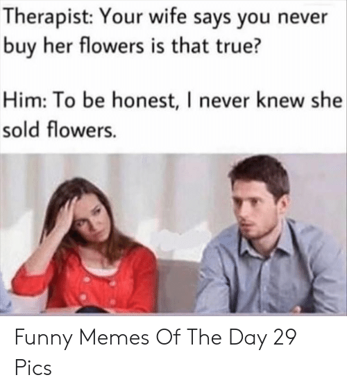 Funny, Memes, and True: Therapist: Your wife says you never  buy her flowers is that true?  Him: To be honest, I never knew she  sold flowers. Funny Memes Of The Day 29 Pics