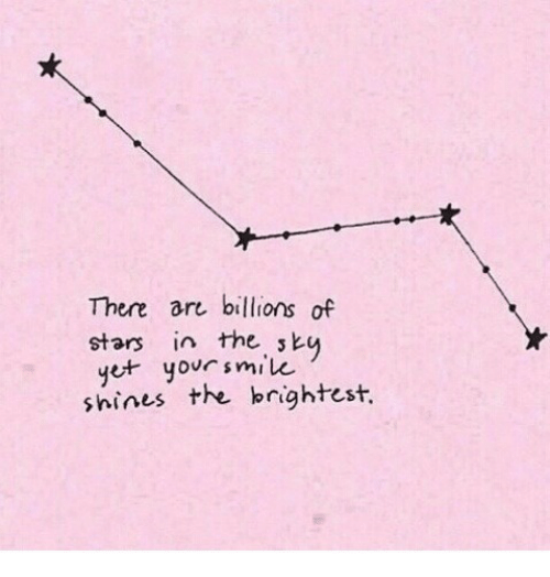 Stars, There, and The: There are billions of  stars in the sk  t yoursmik  shines the brightest.