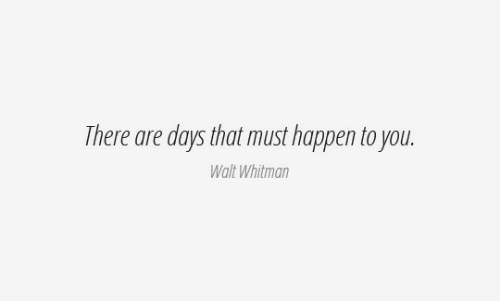 Walt: There are days that must happen to you.  Walt Whitman