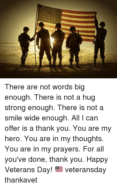 Memes, Thank You, and Happy: There are not words big enough. There is not a hug strong enough. There is not a smile wide enough. All I can offer is a thank you. You are my hero. You are in my thoughts. You are in my prayers. For all you've done, thank you. Happy Veterans Day! 🇺🇸 veteransday thankavet