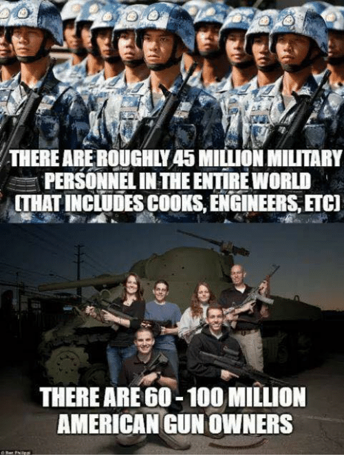 Anaconda, Memes, and American: THERE ARE ROUGHLY45 MILLION MILITARY  PERSONNEL IN THE ENTIRE WORLD  THAT INCLUDESCOOKS, ENGINEERS, ETC]  THERE ARE 60-100 MILLION  AMERICAN GUN OWNERS