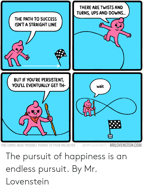 Dank, Pursuit of Happiness, and Ups: THERE ARE TWISTS AND  TURNS, UPS AND DOWNS...  THE PATH TO SUCCESS  ISN'T A STRAIGHT LINE  BUT IF YOU'RE PERSISTENT,  YOU'LL EVENTUALLY GET TH  wait  THIS COMIC MADE POSSIBLE THANKS TO TYLER BILLMEYER @MrLovenstein MRLOVENSTEIN.COM The pursuit of happiness is an endless pursuit.  By Mr. Lovenstein