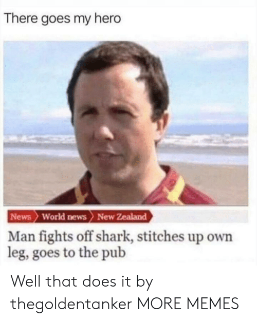 World News: There goes my hero  News World news> New Zealand  Man fights off shark, stitches up own  leg, goes to the pub Well that does it by thegoldentanker MORE MEMES