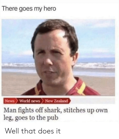 World News: There goes my hero  News World news> New Zealand  Man fights off shark, stitches up own  leg, goes to the pub Well that does it