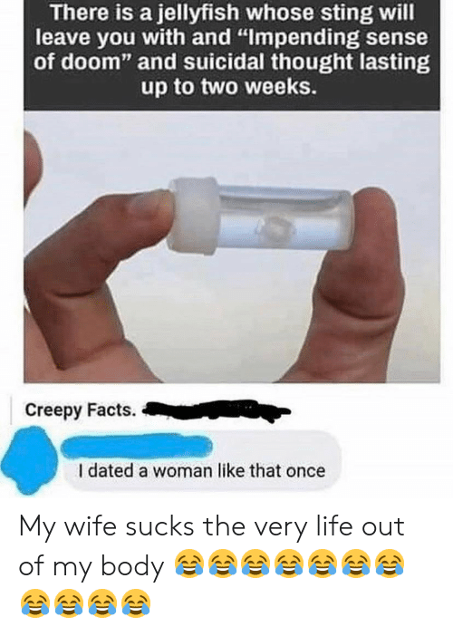 "Creepy, Facts, and Life: There is a jellyfish whose sting will  leave you with and ""Impending sense  of doom"" and suicidal thought lasting  up to two weeks.  Creepy Facts.  I dated a woman like that once My wife sucks the very life out of my body 😂😂😂😂😂😂😂😂😂😂😂"
