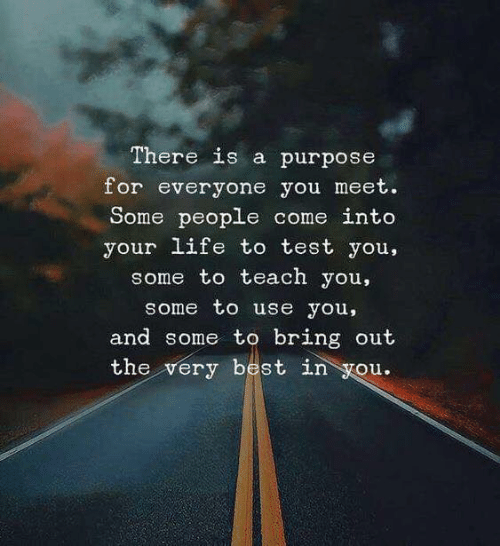 Life, Best, and Test: There is a purpose  for everyone you meet.  Some people come into  your life to test you,  some to teach you,  some to use you,  and some to bring out  the very best in you.